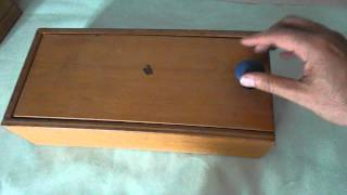 Wooden Box with Sliding Lid and Blue Knob