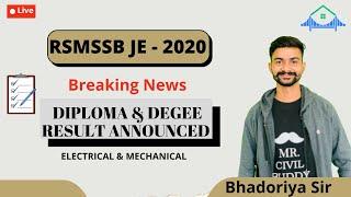 RSMSSB JE 2020 Diploma result announced