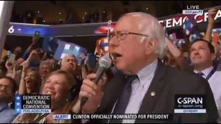 Bernie Sanders OFFICIALLY Nominates Hillary Clinton During Rollcall Vote At DNC 7/26/16