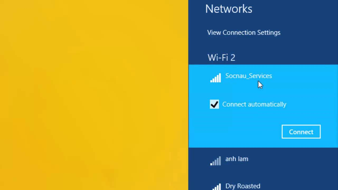Cách kết nối Wifi trên Windows 8.1