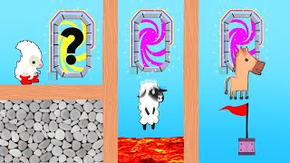 CHOOSE THE RIGHT TELEPORTER OR DIE! (Ultimate Chicken Horse)