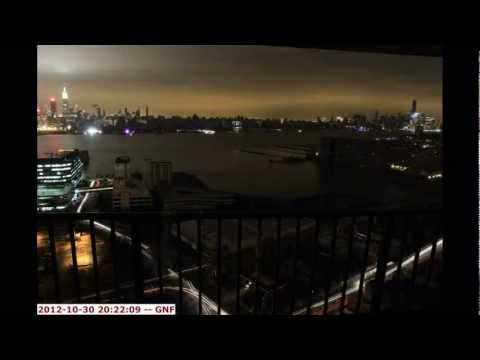 Hurricane Sandy Time Lapse of New York City Skyline with Power Outage in Manhattan Oct 29, 2012