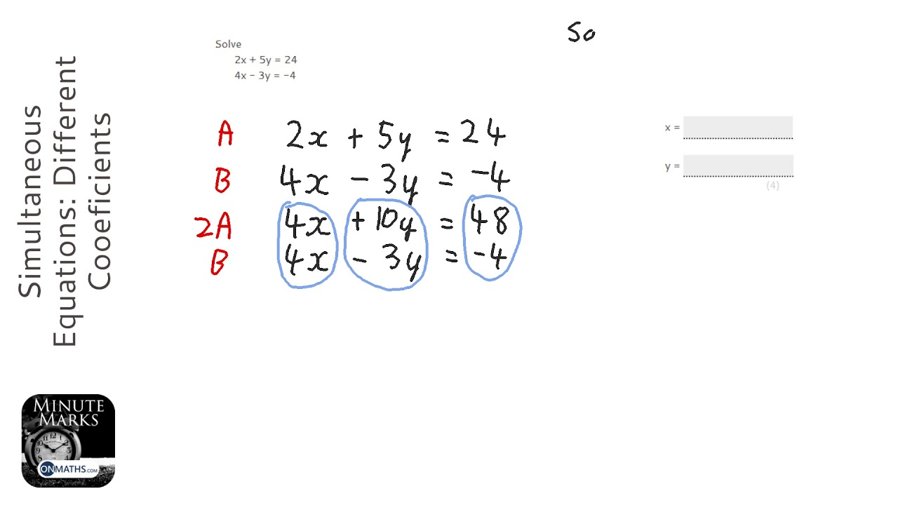 Simultaneous Equations: Different Cooeficients (Grade 5