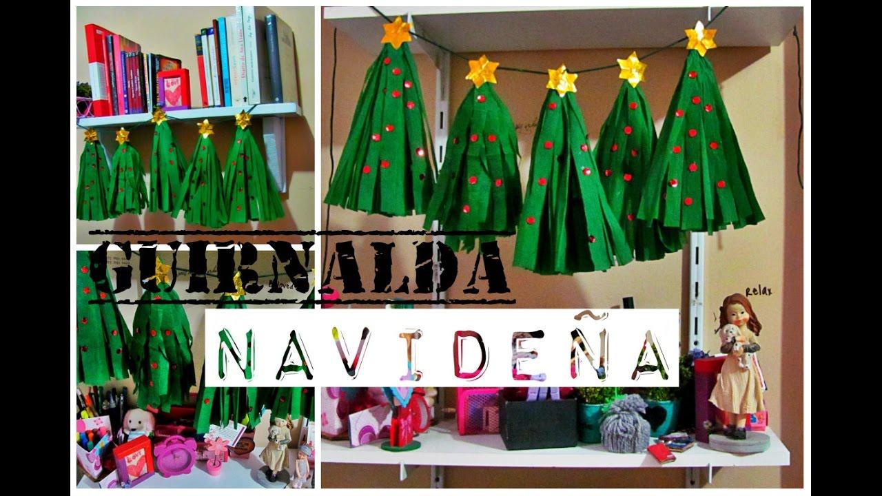Guirnalda navide a de papel crep youtube for Decoracion navidena con papel