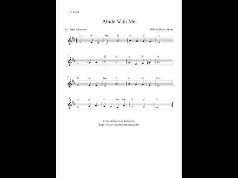 Free violin sheet music, Abide With Me