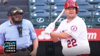 james corden takes a swing at major league baseball
