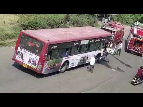 fire in city bus in bhopal