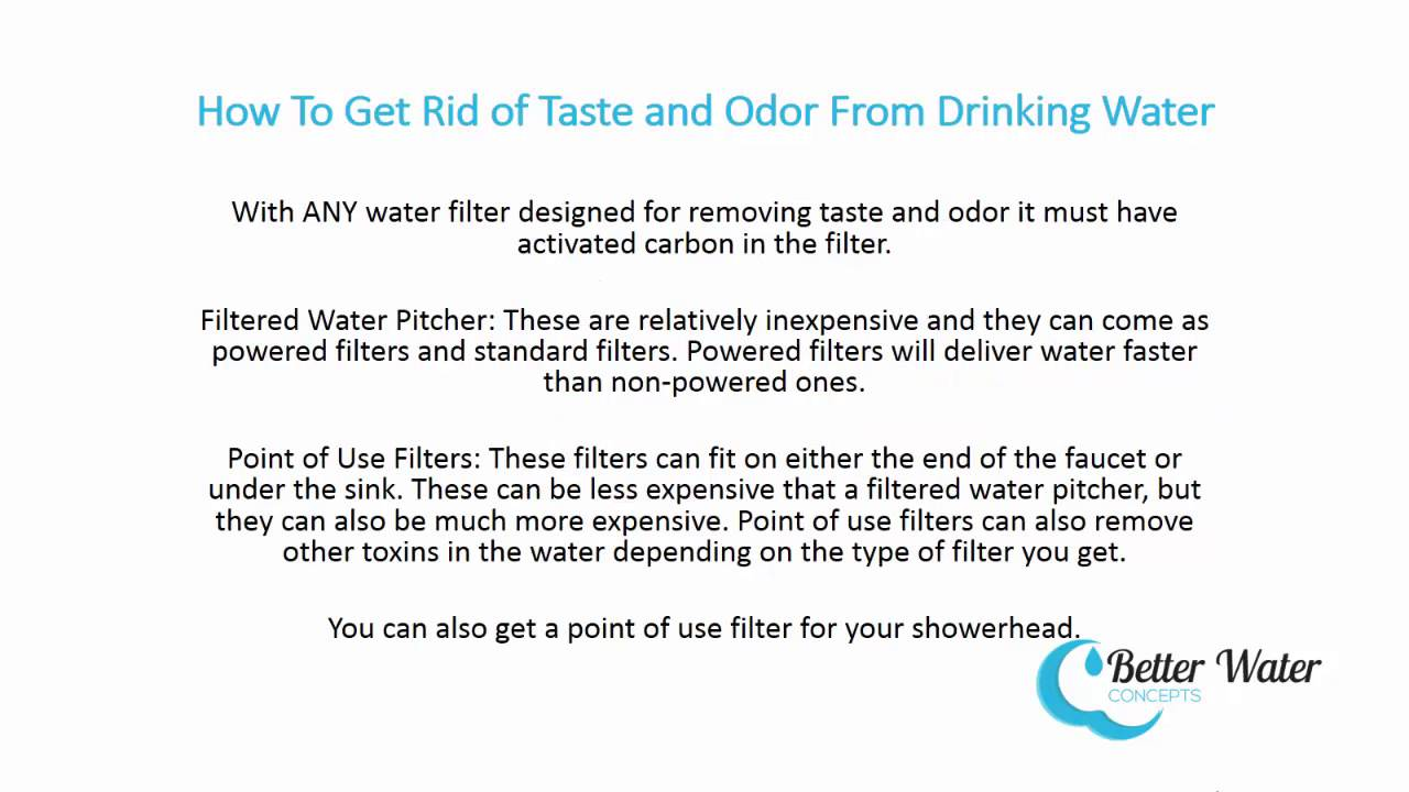 How to Remove Taste and Odor From Drinking Water - YouTube