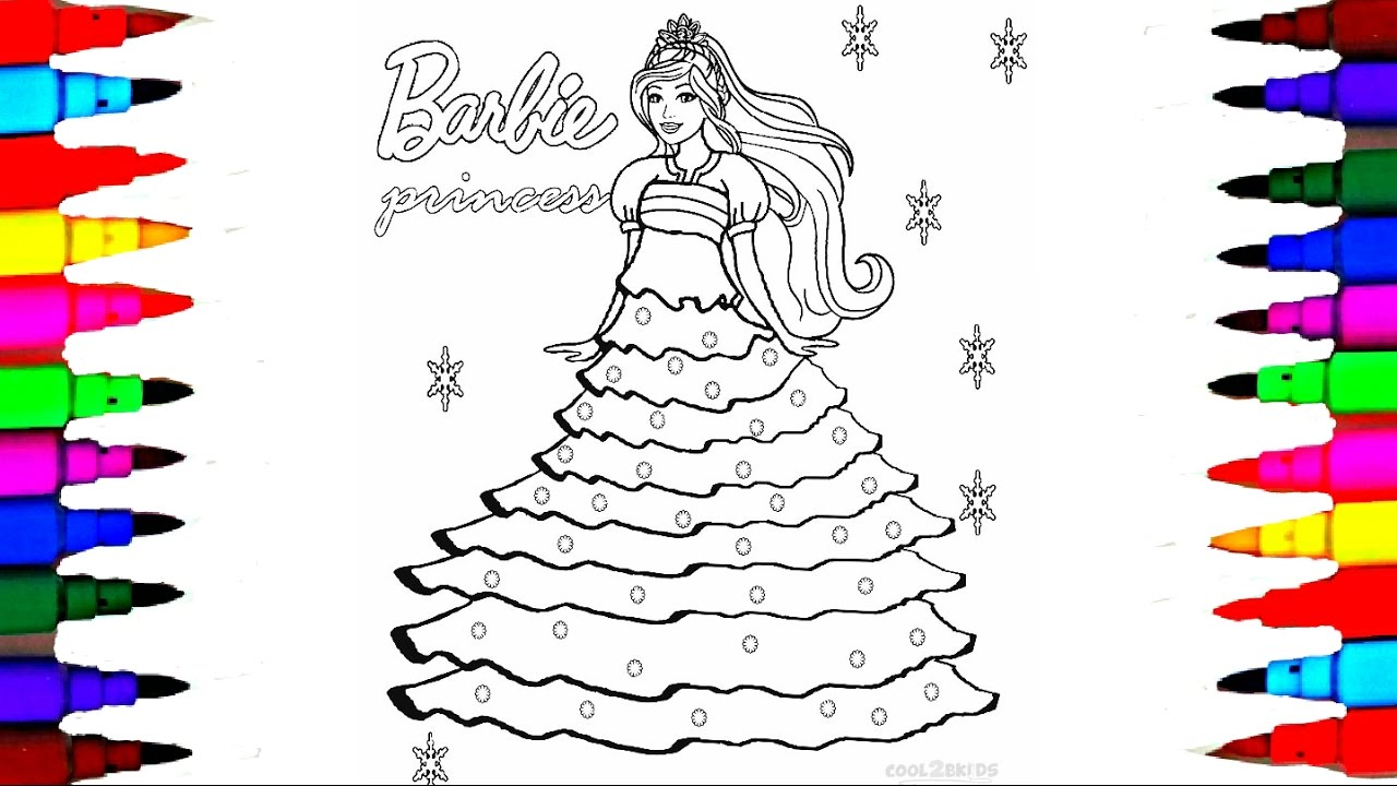 How to draw barbie princess dress l barbie coloring pages with colored markers l videos for children