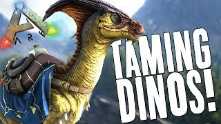 ARK: Survival Evolved Gameplay Part 3 (GIVEAWAY) - Dinosaur Taming (How to Tame + Ride Dinos)
