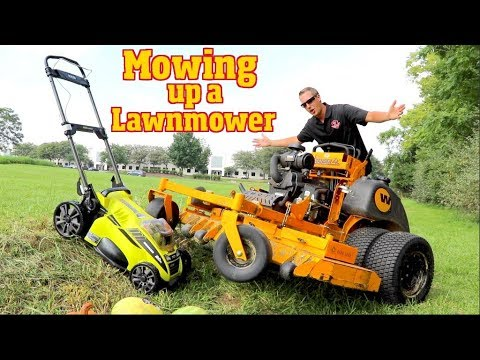 Can we Mow over another Lawn mower, Super Tall Grass, watermelons & Pumpkins? Lets Try!