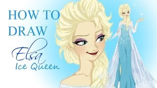 HOW TO DRAW - Elsa (Frozen) Snow Queen version step by step