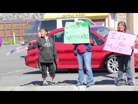 Klamath Tribes protest water settlement vote, April 11, 2014