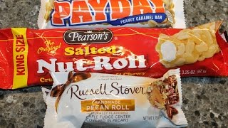 Payday Peanut Caramel Bar, Pearson's Salted Nut Roll & Russell Stover Pecan Roll Review
