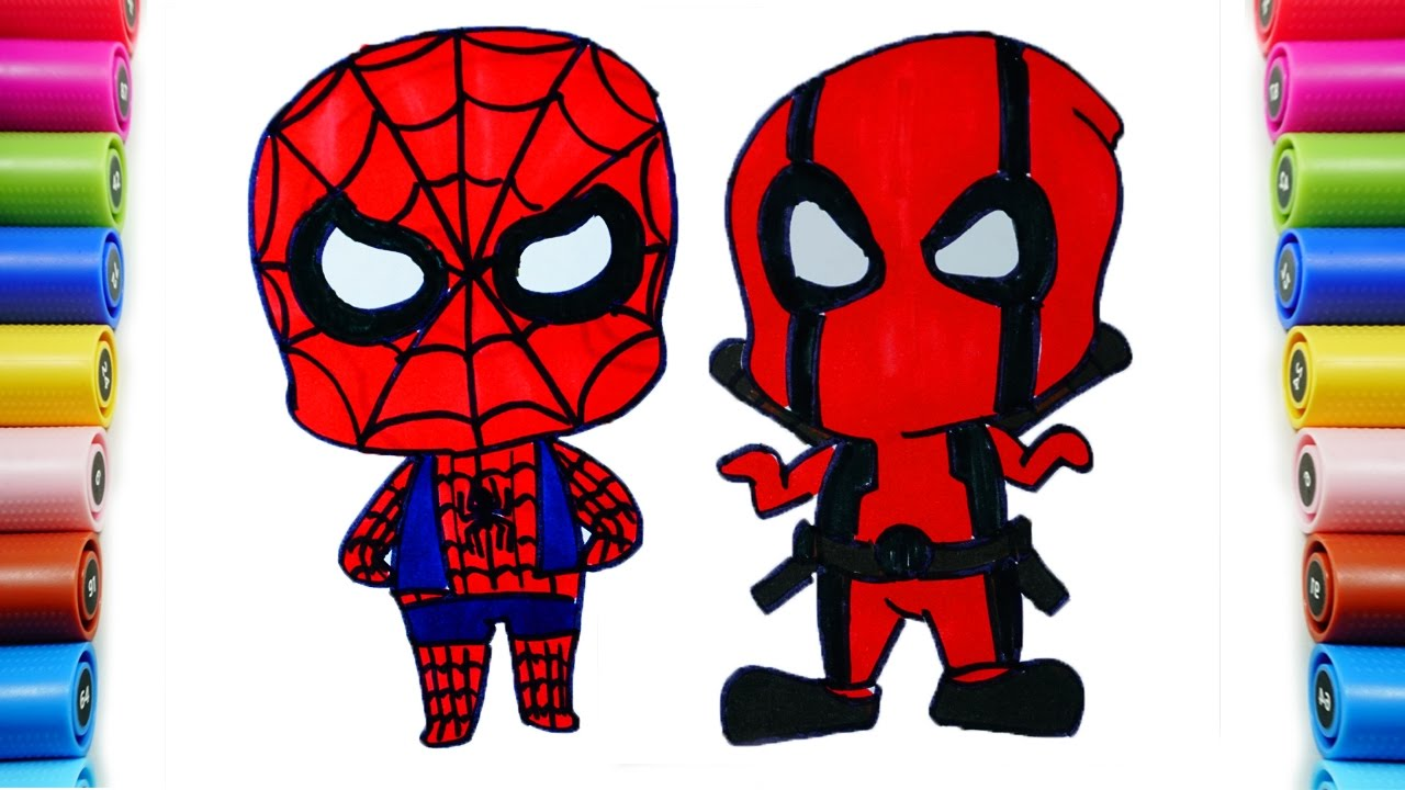 Drawing New Baby Deadpool And Spiderman 2 Poster By Water Colors For Learning Coloring Pa Peppa Kids Song