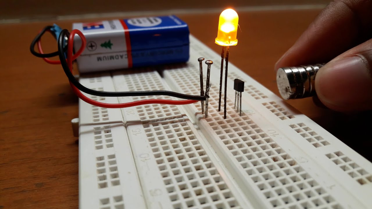 How To Make A Magnet Polarity Detection Circuit On Breadboard With Discoloring Lightemitting Diode Basiccircuit Using Hall Effect Sensor