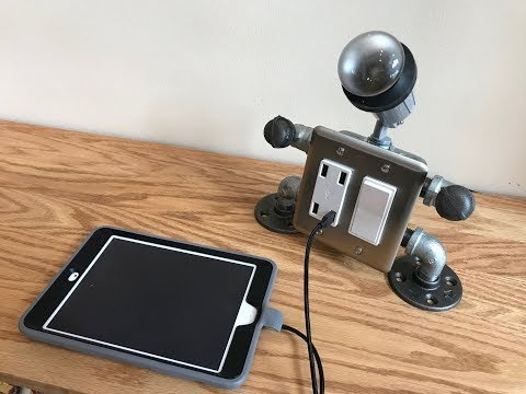 DIY Steampunk Robot USB Charger Table Lamp