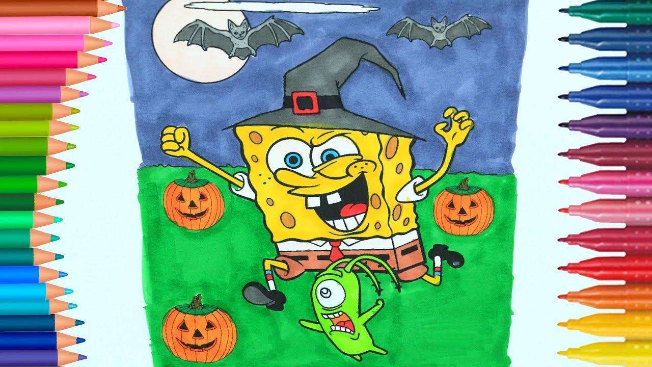 SpongeBob Becomes a Magician 👻 l Coloring Page Halloween Specia ...