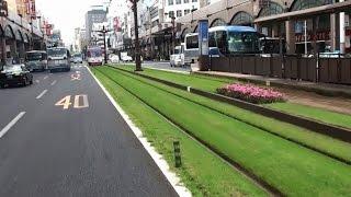鹿児島市街を走る路面電車、軌道敷が芝で綺麗でした、東郷平八郎の墓、...