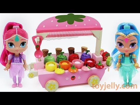 Toy Ice Cream Cart Learn Colors Names Fruits Vegetables Shimmer and Shine Lollipop Strawberry Candy