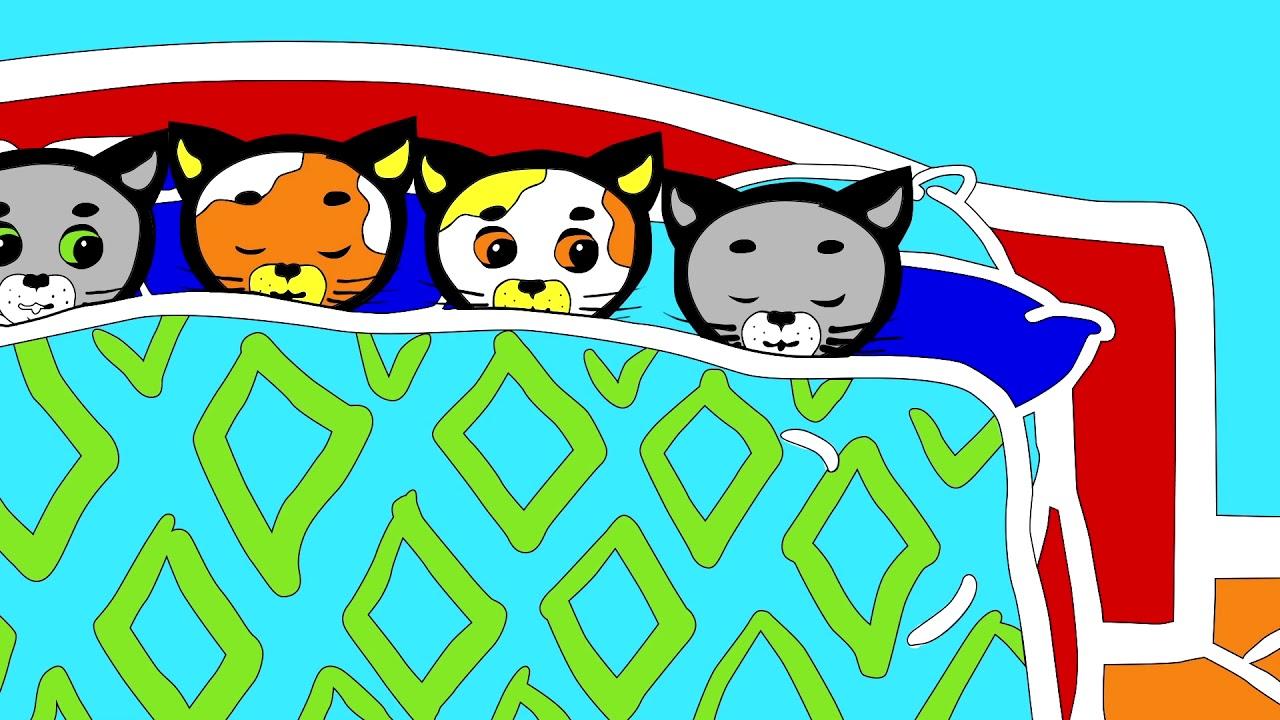 Раскраски - Считалочки (Десять в кроватке)   Три котенка ...