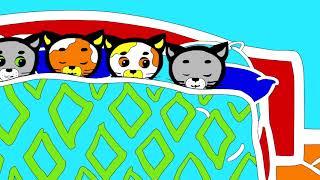 Раскраски - Считалочки (Десять в кроватке) | Три котенка - мультик для малышей
