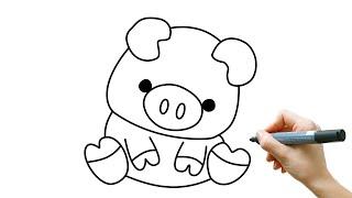 怎样画可爱的小猪 let