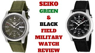 SEIKO5 AUTOMATIC GREEN & BLACK FIELD MILITARY WATCH REVIEW SNK805, SNK809 (Seiko)