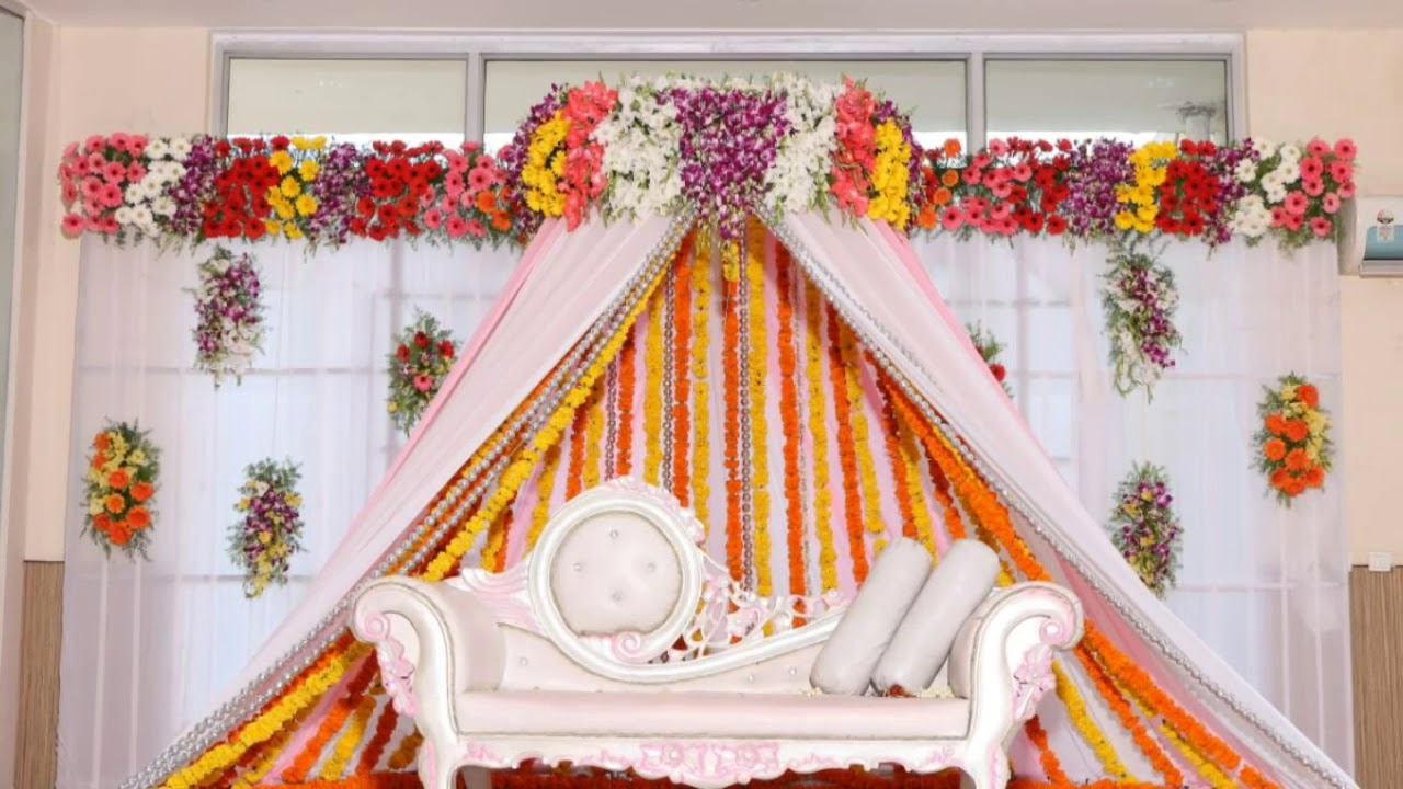 Marriage wedding flowers stages decoration videos... - YouTube