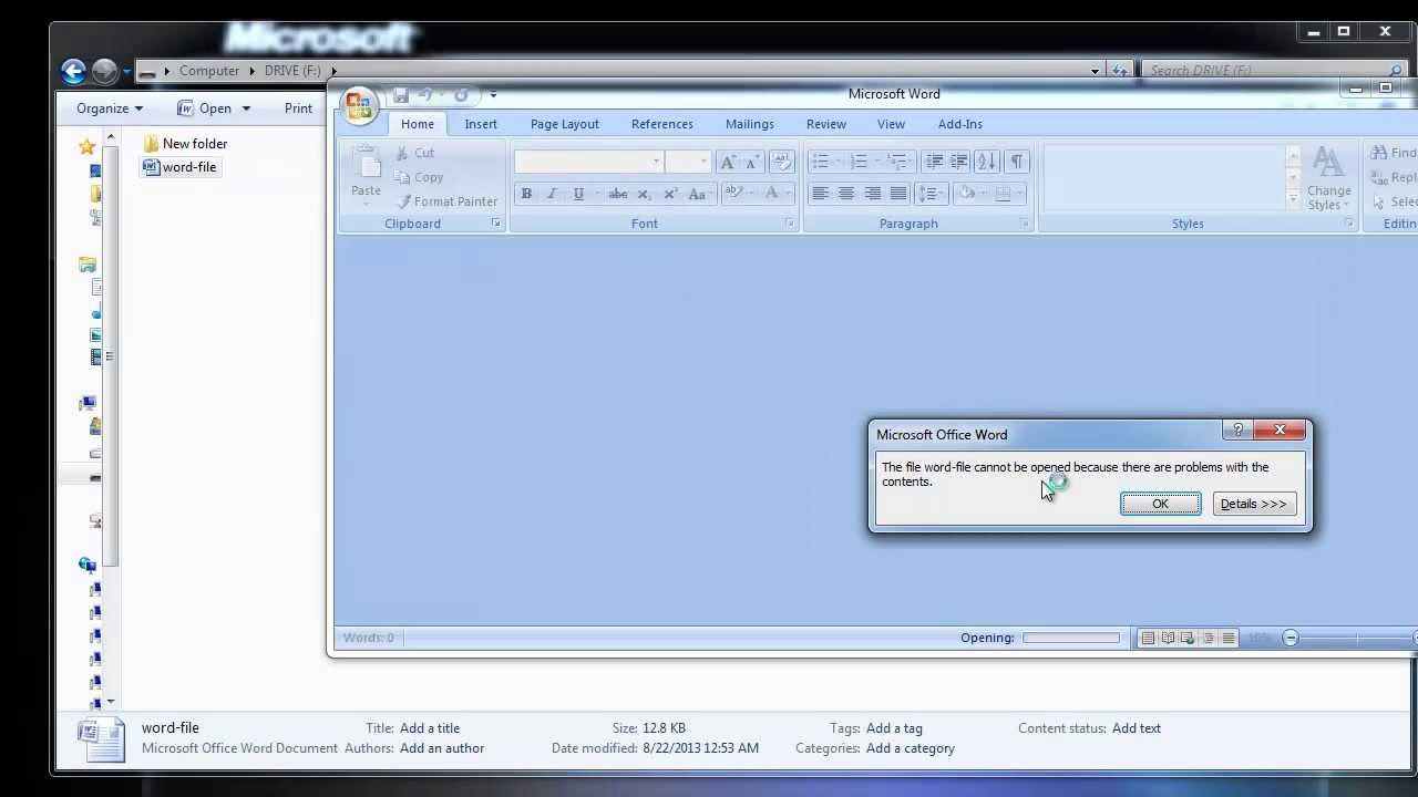 How to recover word corrupted file