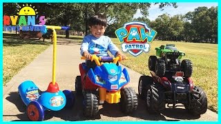 PLAYTIME AT THE PARK PAW PATROL Power Wheels  Kinder Eggs Surprise Toys kids Video Monster Truck