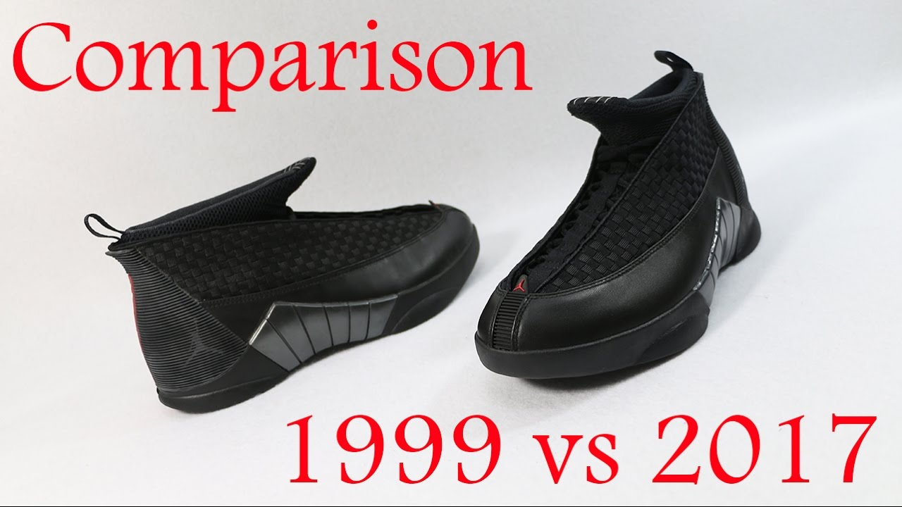 584253ac9fa046 Comparison - Air Jordan 15 XV Stealth (1999 vs 2017) - YouTube