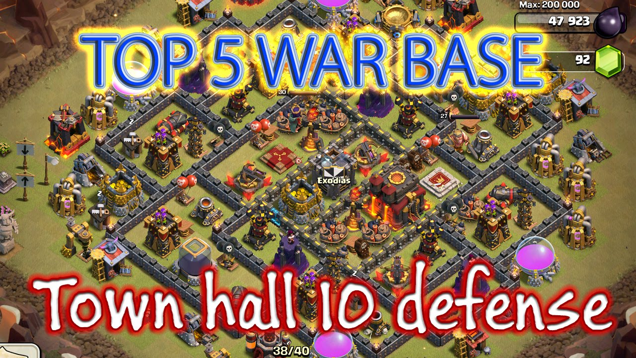 Best town hall 10 base design for clash of clans top 5 th10 war base