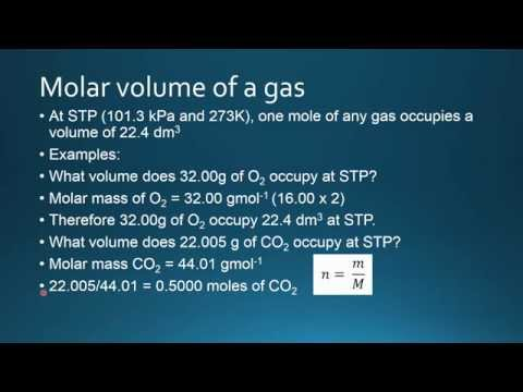 1.4.5 Apply the concept of molar volume at standard temperature and pressure in calculations.