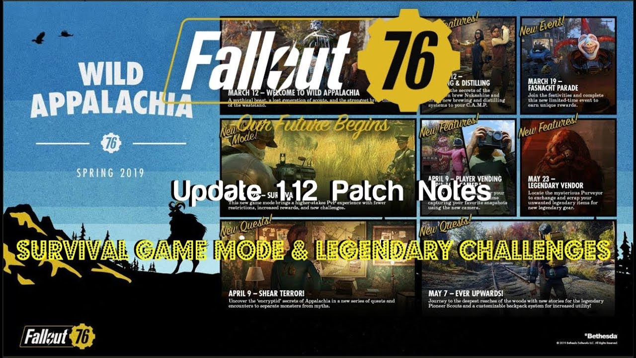 Fallout 76 | Update 1 12 Patch Notes | NEW Survival Game Mode, Legendary  Challenges & More