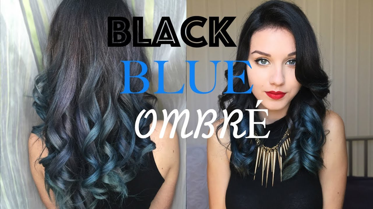 Dark Grey Blue Ombre Hair