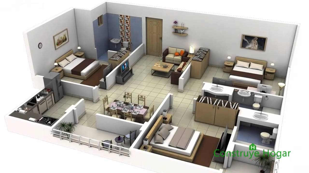 Planos de departamentos de 3 habitaciones youtube for Decorar casa 60 m