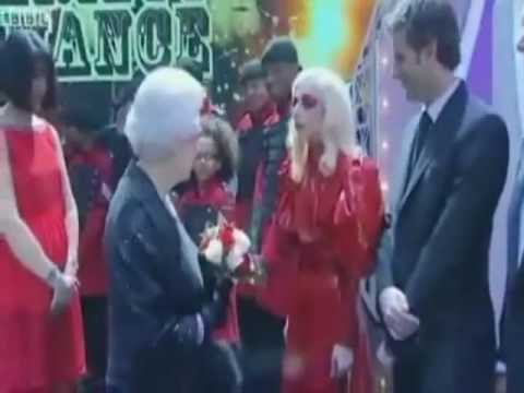 Lady Gaga Meets & Greets Queen Elizabeth of UK - YouTube