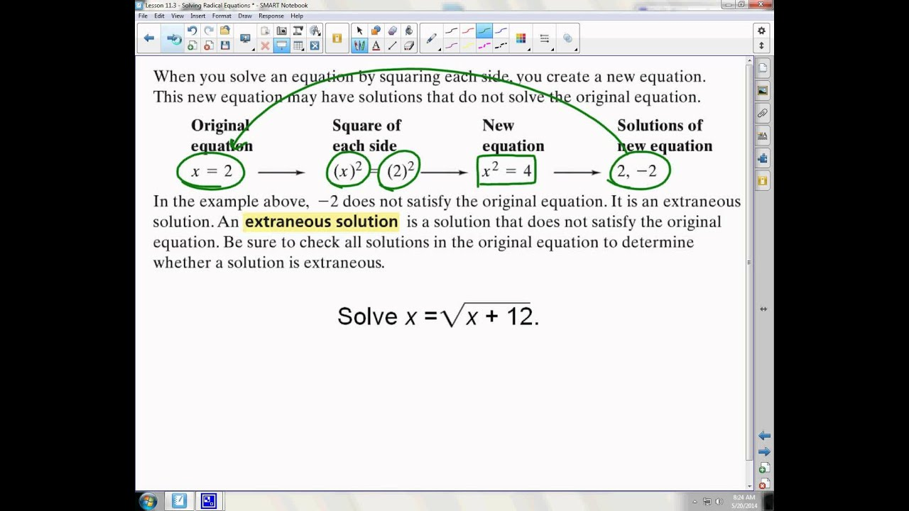 Lesson 11 3 Solving Radical Equations Youtube
