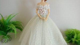 Hướng dẫn cách may váy cưới cho búp bê Barbie | Chị SuSi Tv