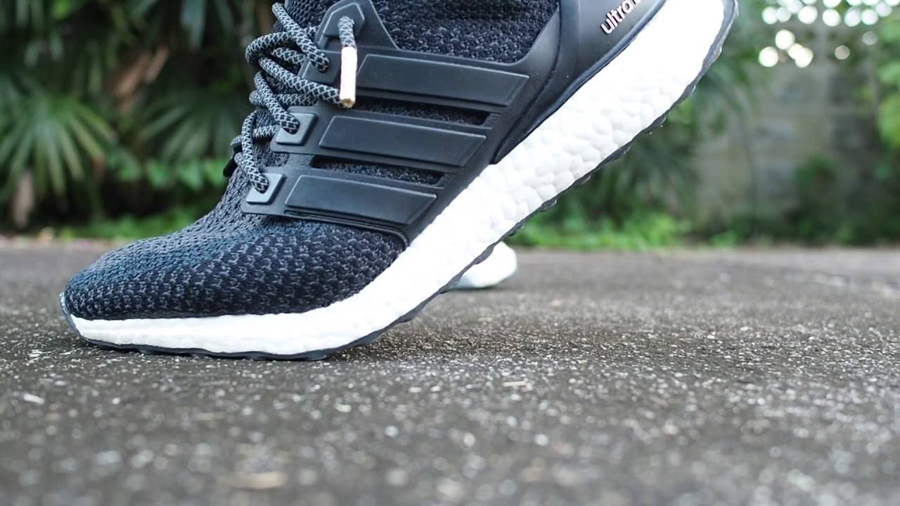 cd0ca44e61c66 Adidas Ultra Boost Core Black 2.0 with 3M laces - YouTube