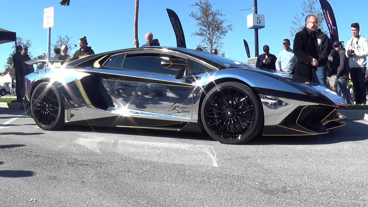 Crazy Silver Gold Lamborghini Aventador SV Next for ...