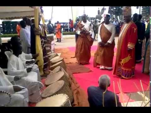The Entenga drums perform for the king at the Buganda Parliamentary opening