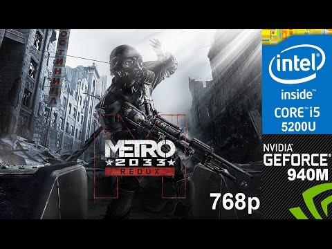 Metro 2033 Redux on HP Pavilion 15-ab032TX, Very High Setting 768p, Core i5 5200u + Nvidia  940m