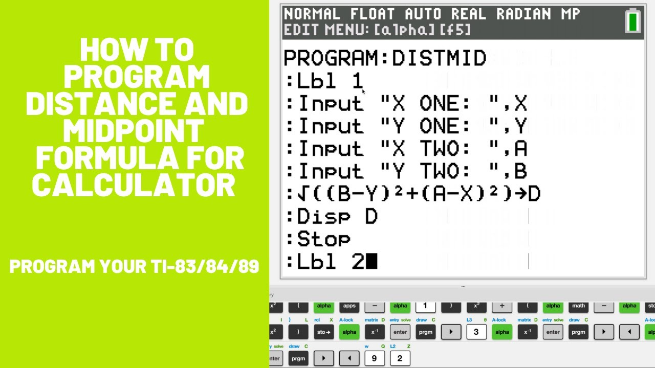 How to Program the Distance/Midpoint Formula for TI-83/84/89 Calculator (Super Easy) - YouTube
