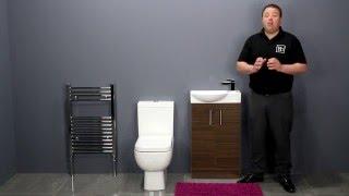 Short Project Toilet & Walnut Double Door Vanity Unit Bathroom Furniture