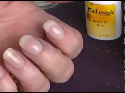 Acrylic powder dip using glue for adding strength to nails nail ...