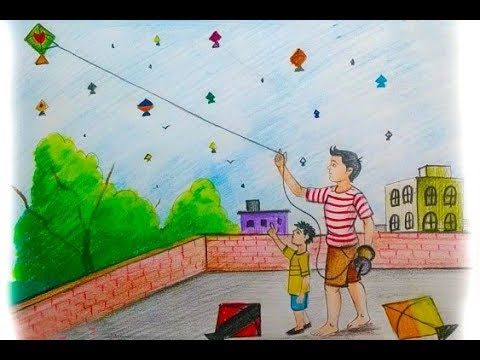 How To Draw Flying Kite Scenery Step By Step Easy Youtube