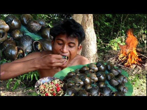 Secret Of Primitive: Find & Cooking Snails - Eating Delicious