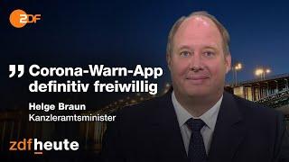 """Die nutzung der in kommenden woche an den start gehenden corona-warn-app wird nach angaben von kanzleramtsminister helge braun (cdu) """"definitiv freiwillig sein"""". zdf-sendung """"maybrit ..."""